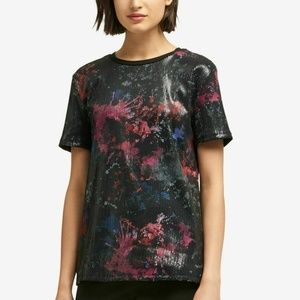 DKNY Large Multi Sequined Printed Blouse Top 4V74